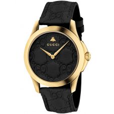 Gucci Unisex Gucci-G Gold Plated Signature Black Leather Strap Watch YA1264034