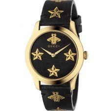 Gucci Ladies G-Timeless Gold Plated Bees & Stars Black Leather Strap Watch YA1264055