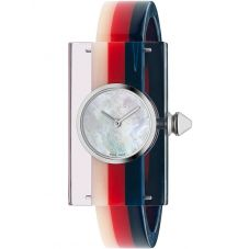Gucci Ladies Fashion Show Stainless Steel Mutlicolored Plexiglass Bangle Watch YA143523