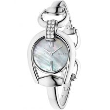 Gucci Ladies Horsebit Stainless Steel Diamond Set Bangle Watch YA139504