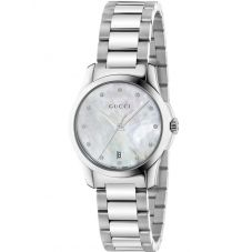 Gucci Ladies G-Timeless Stainless Steel Mother Of Pearl Diamond Set Bracelet Watch YA126542