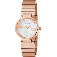 Gucci Ladies Interlocking-G Rose Gold Plated Bracelet Watch YA133515
