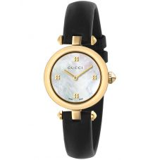Gucci Ladies Diamantissima Gold Plated Mother Of Pearl Dial Leather Strap Watch YA141505