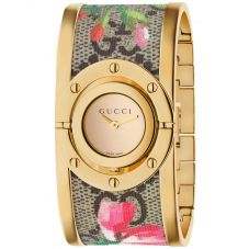 Gucci Ladies Twirl Gold Plated Pink Blooms Bangle Watch YA112443