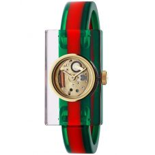 Gucci Ladies Fashion Show Gold Plated Green & Red Plexiglass Bangle Watch YA143501