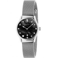 Gucci Ladies G-Timeless Diamond Set Stainless Steel House Motifs Black Dial Mesh Strap Watch YA1265001