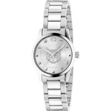 Gucci Ladies G-Timeless Stainless Steel Mystic Cat Dial Bracelet Watch YA126595