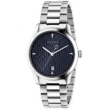 Gucci Ladies G-Timeless Stainless Steel Medium Textured Blue Dial Bracelet Watch YA1264025A