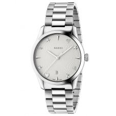 Gucci Ladies G-Timeless Stainless Steel House Motif Silver Dial Bracelet Watch YA1264028A
