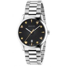 Gucci Ladies G-Timeless Stainless Steel House Motif Black Dial Bracelet Watch YA1264029A