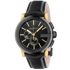 Gucci Mens G-Chrono Black Dial Leather Strap Watch YA101203