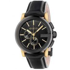 Gucci Mens G-Chrono Black Dial Leather Strap Watch YA101203