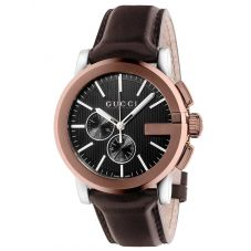 Gucci Mens G-Chrono XL Ion Plated Leather Strap Watch YA101202