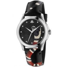 Gucci Mens Le Marche Des Merveilles Snake Motif Black Leather Strap Watch YA1264007