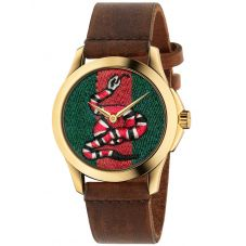 Gucci Mens Le Marche Des Merveilles Gold Plated Snake Motif Brown Leather Strap Watch YA1264012