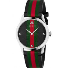Gucci Mens G-Timeless Le Marche Des Merveilles Black Leather Strap Watch YA1264079