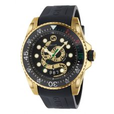 Gucci Mens Dive Gold Plated Snake Dial Black Rubber Strap Watch YA136219