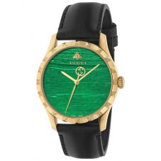 Gucci Ladies Le Marche Des Merveilles Gold Plated Green Dial Black Leather Strap Watch YA126463A