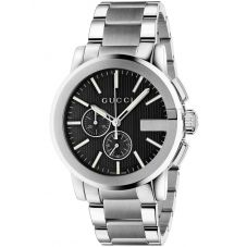 Gucci Mens G-Chrono Stainless Steel Black Dial Bracelet Watch YA101204