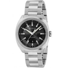 Gucci Mens GG2570 Stainless Steel Black Dial Bracelet Watch YA142301