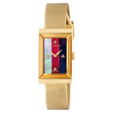 Gucci Ladies G-Frame Multi-Coloured Mother of Pearl Dial Mesh Bracelet Watch YA147410