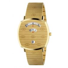 Gucci Mens Grip Gold Plated Covered Dial Bracelet Watch YA157409