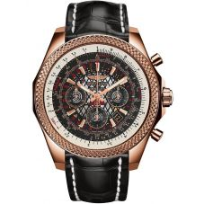 Breitling For Bentley Mens B06 18ct Rose Gold Black Leather Strap Watch RB061112-BC43 760P