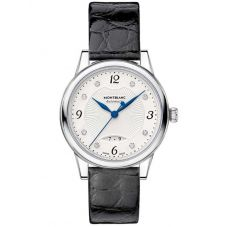 Montblanc Ladies Boheme Automatic Date Diamond Set Dial Black Leather Strap Watch 111055