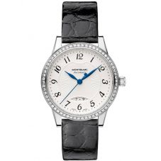 Montblanc Ladies Boheme Automatic Date Diamond Set Black Leather Strap Watch 111057