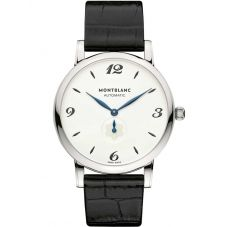 Montblanc Mens Star Classique Black Leather Strap Watch 107073