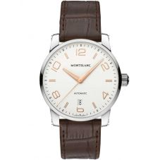 Montblanc Mens Timewalker Brown Leather Strap Watch 110340