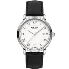 Montblanc Mens Tradition Date Black Leather Strap Watch 112609