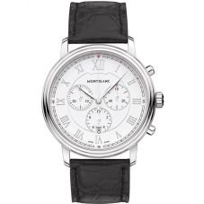 Montblanc Mens Tradition Quartz Chronograph Leather Strap Watch 114339