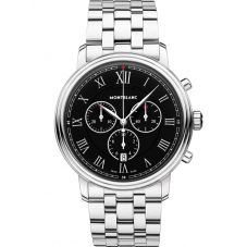 Montblanc Mens Tradition Chronograph Black Dial Bracelet Watch 117048