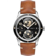 Montblanc Mens 1858 Geosphere Light Brown Leather Strap Watch 119286