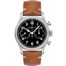 Montblanc Mens 1858 Automatic Chronograph Leather Strap Watch 117836