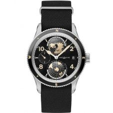 Montblanc Mens 1858 Geosphere Leather Strap Watch 117837