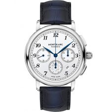 Montblanc Mens Star Legacy Automatic Chronograph Blue Leather Strap Watch 118514