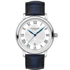 Montblanc Mens Star Legacy Automatic Date Blue Leather Strap Watch 119956