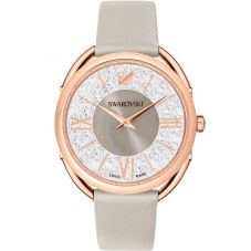 Swarovski Crystalline Glam Rose Gold Tone Grey Leather Strap Watch 5452455