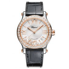 Chopard Ladies Happy Sport Rose Gold Diamond Watch 278559-6003