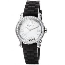 Chopard Ladies Happy Sport Diamond Rubber Strap Watch 278590-3003