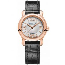 Chopard Ladies Happy Sport Rose Diamond Watch 274893-5011