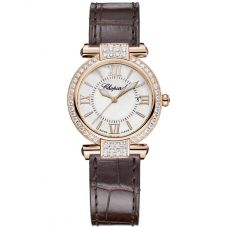 Chopard Ladies Imperiale Rose Diamond Brown Leather Strap Watch 384238-5003