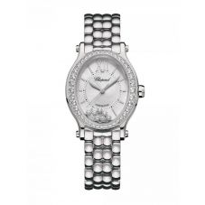 Chopard Ladies Happy Sport Oval Silver Diamond Dial Bracelet Watch 278602-3004