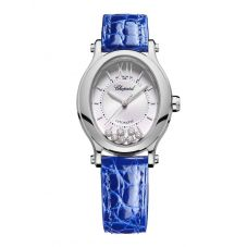 Chopard Ladies Happy Sport Oval Silver Diamond Dial Blue Leather Strap Watch 278602-3001
