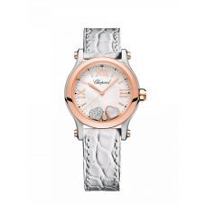 Chopard Ladies Happy Hearts Two Colour Mother Of Pearl Dial White Leather Strap Watch 278590-6005