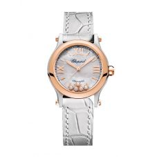 Chopard Ladies Happy Sport Two Colour Mother Of Pearl Diamond Dial White Leather Strap Watch 278573-6018