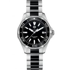 TAG Heuer Ladies Aquaracer Quartz Black Diamond-Set Bracelet Watch WAY131G.BA0913