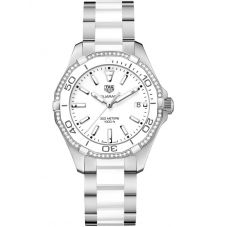 TAG Heuer Ladies Aquaracer Quartz White Diamond-Set Bracelet Watch WAY131H.BA0914
